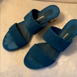 Salvatore Ferragamo Suede slides new